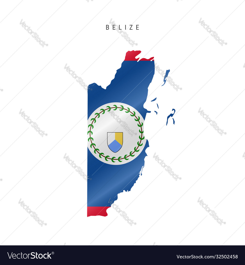 Waving Flag Map Belize Royalty Free Vector Image