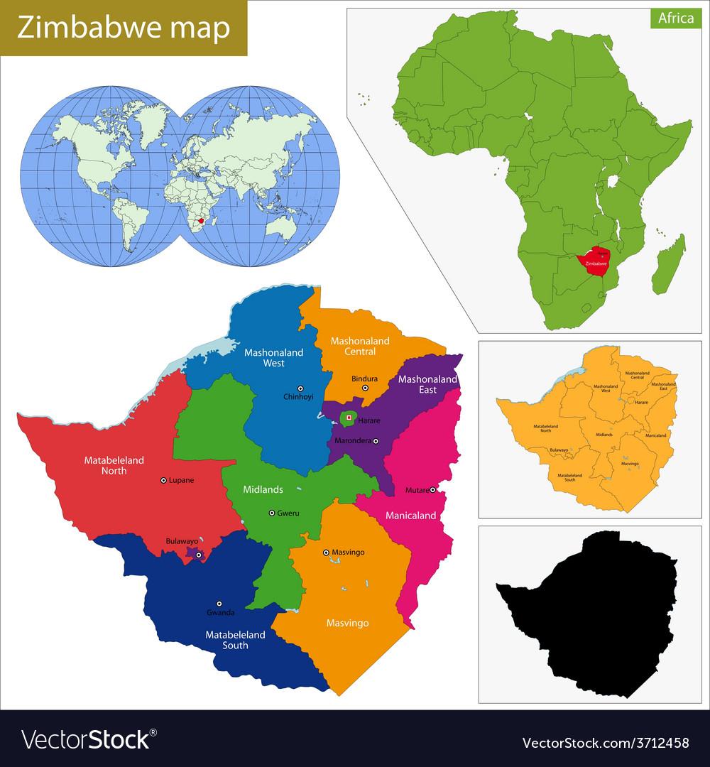 Zimbabwe map Royalty Free Vector Image - VectorStock on