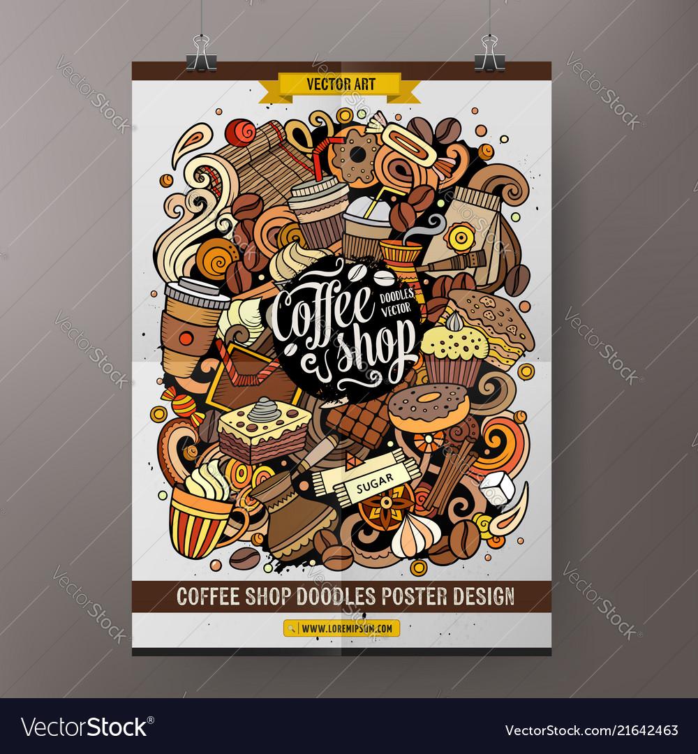 Cartoon hand drawn doodles coffee poster
