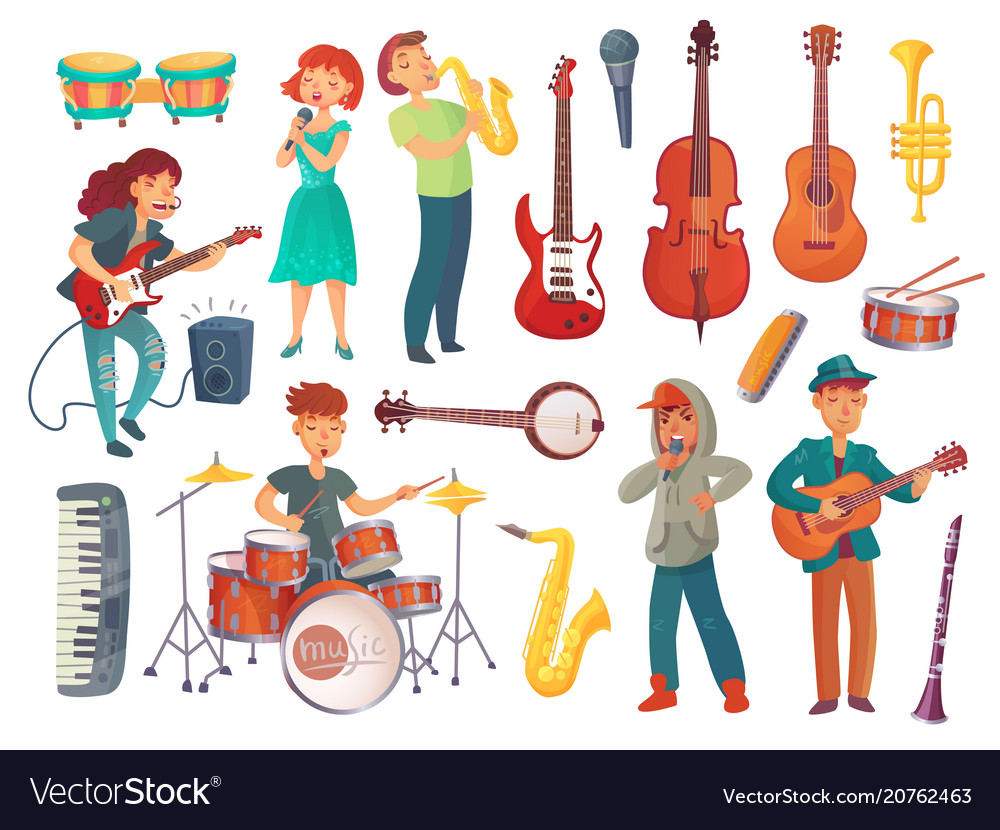 Cartoon young singers with microphones and