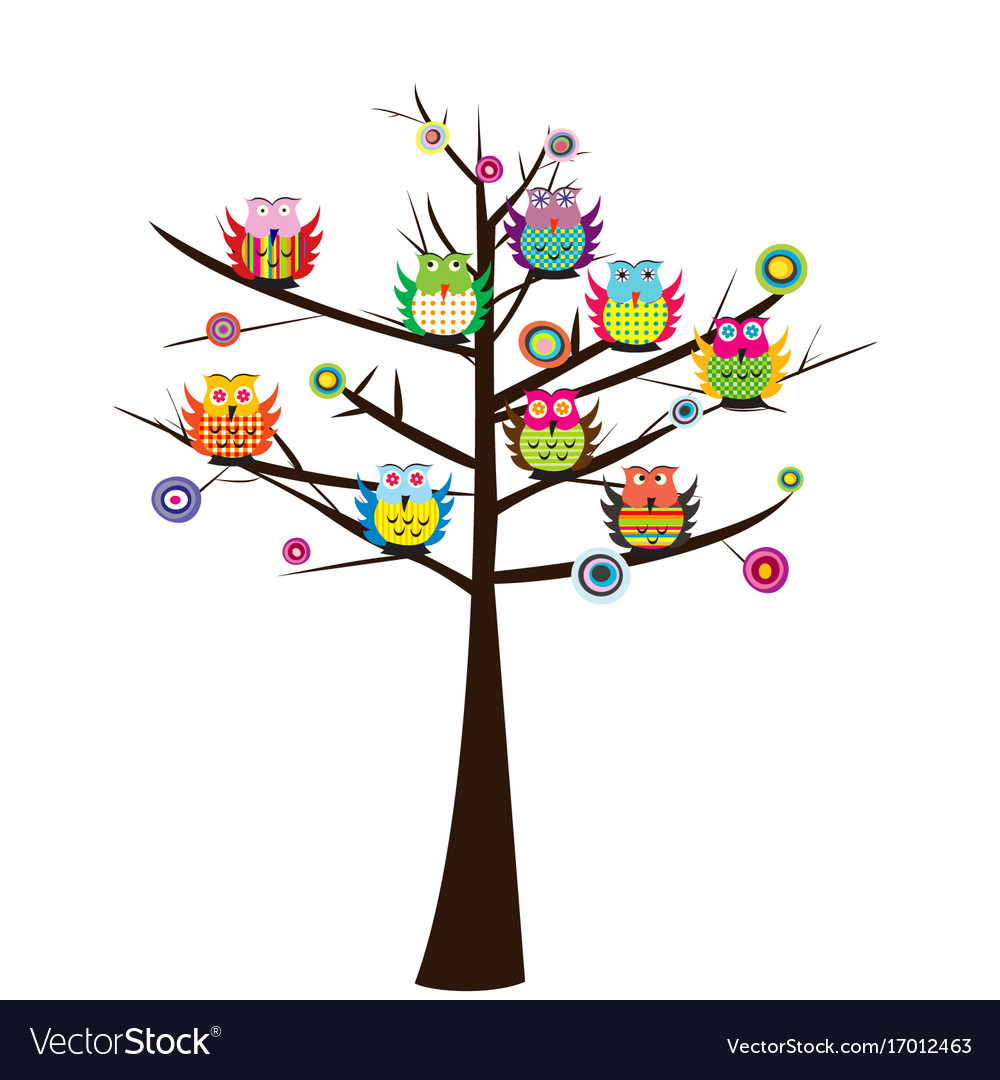 Colorful owls sitting on the tree vector image