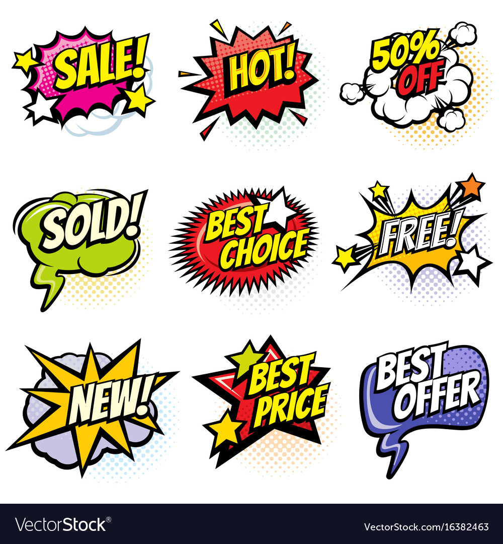 Comic speech bubbles with promo words discount