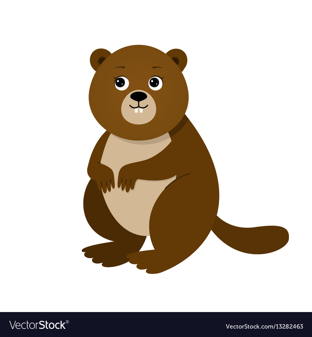 Funny beaver for children vector image
