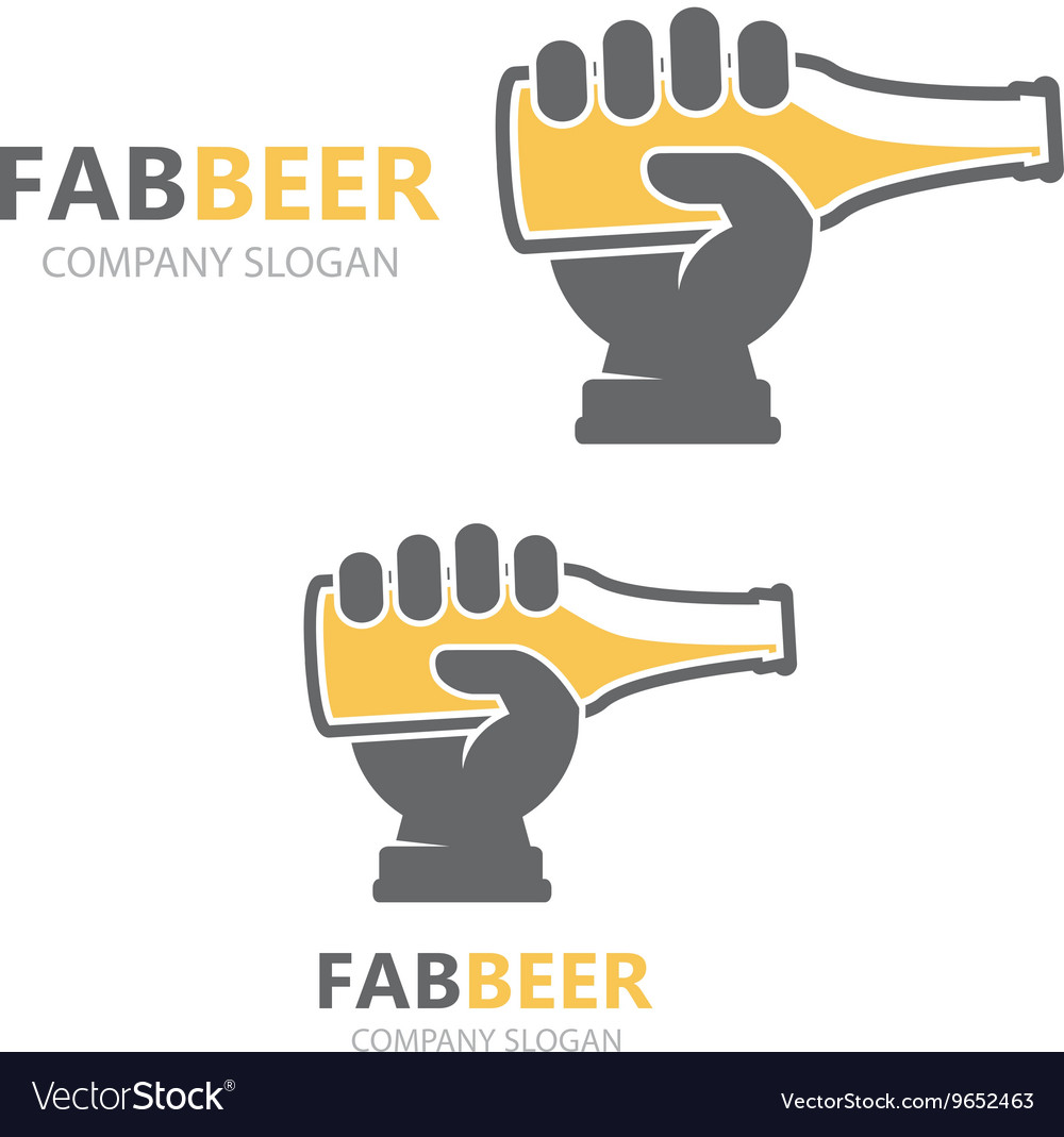 Hand with beer bottle logo design template