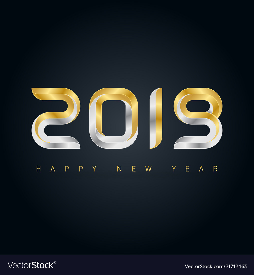 Happy new year 2019 background with gold and