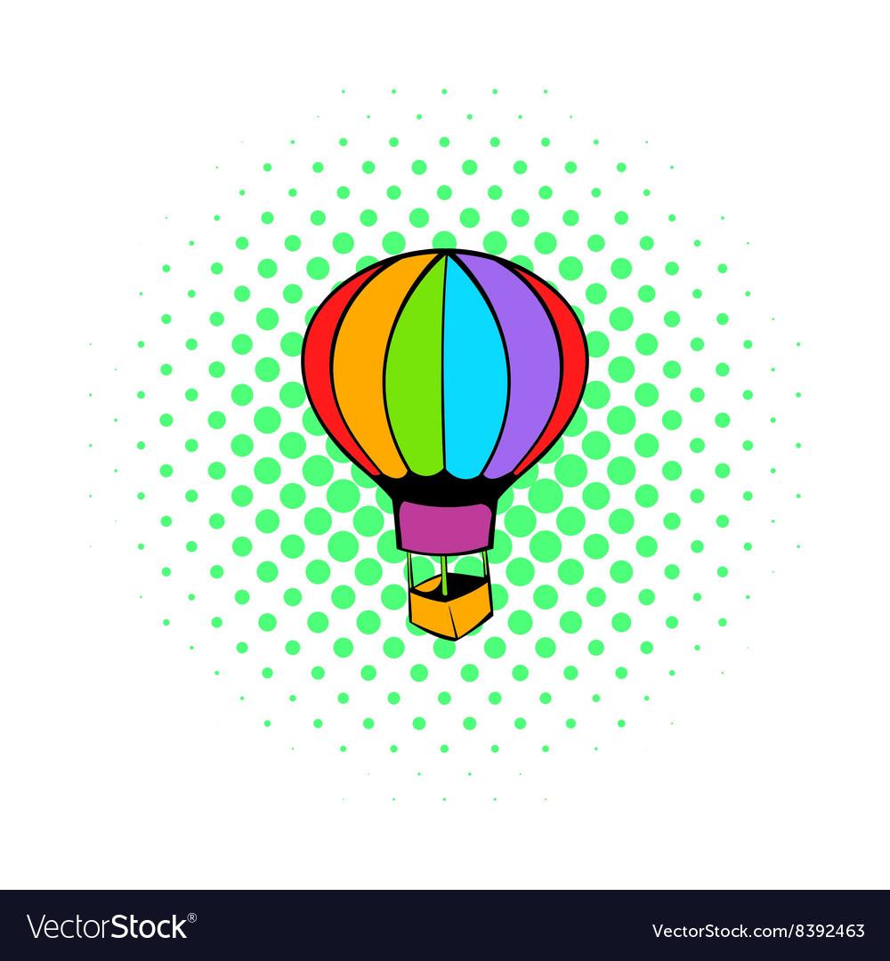 Hot air balloon icon comics style vector image
