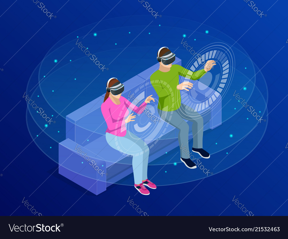 Isometric young man and woman wear the virtual