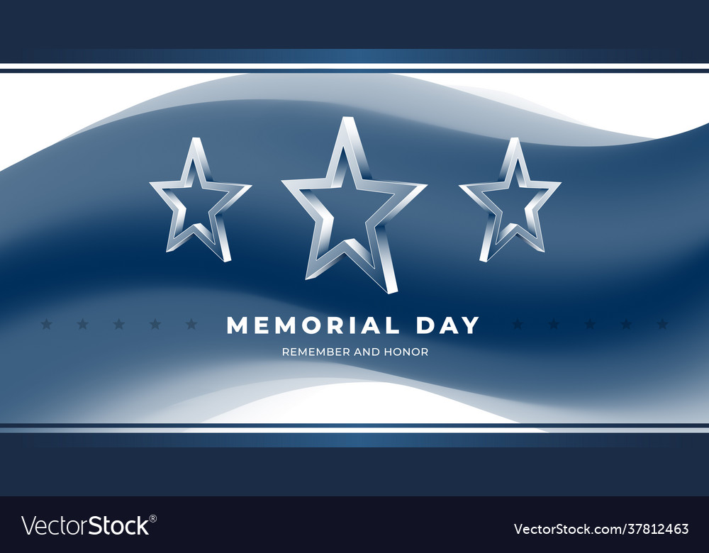 Memorial day greeting card with 3d star