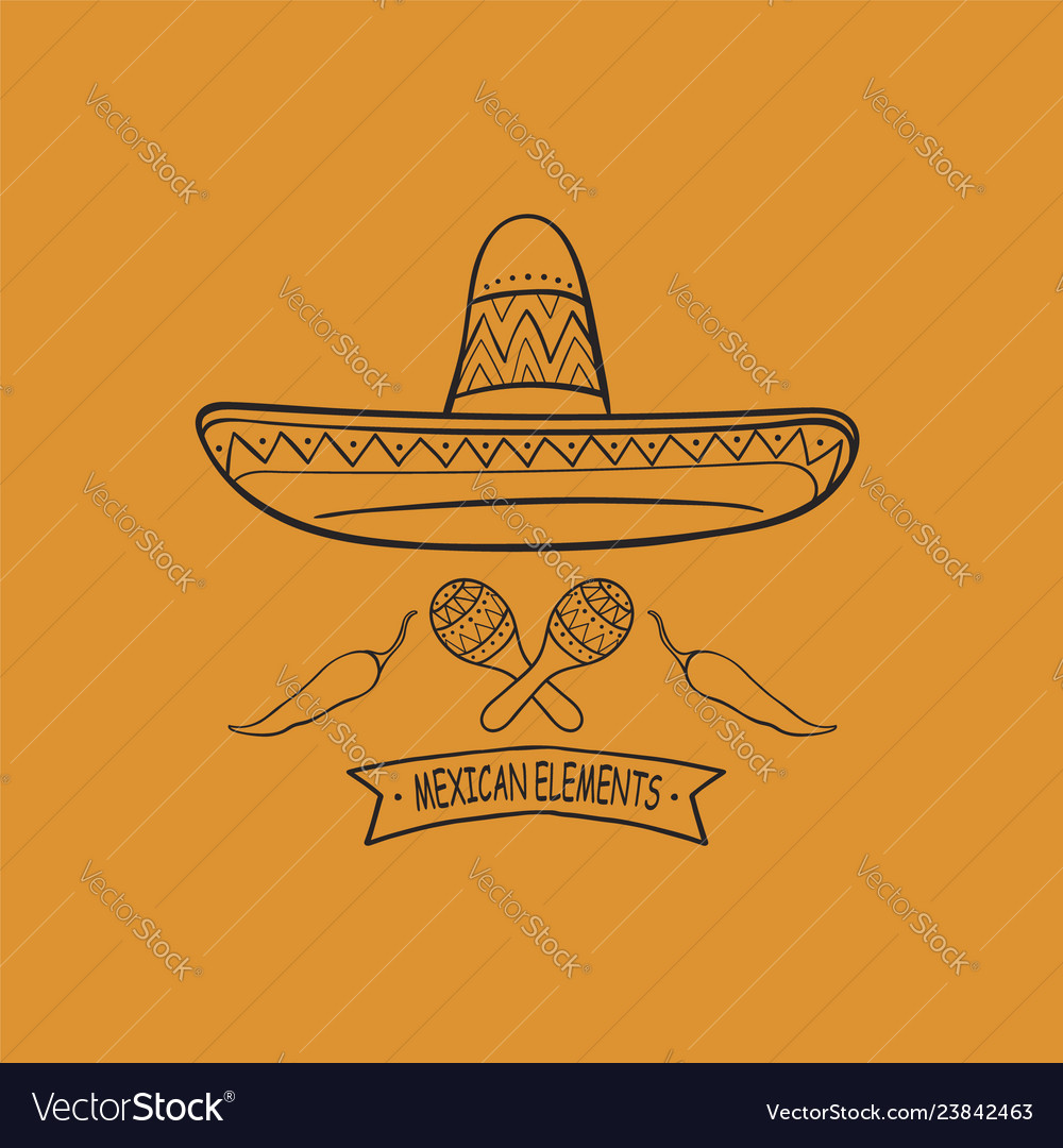 Mexican-symbols-line-art vector