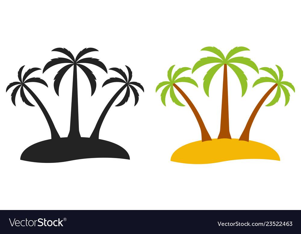 Palm tree desert island logo tourism three
