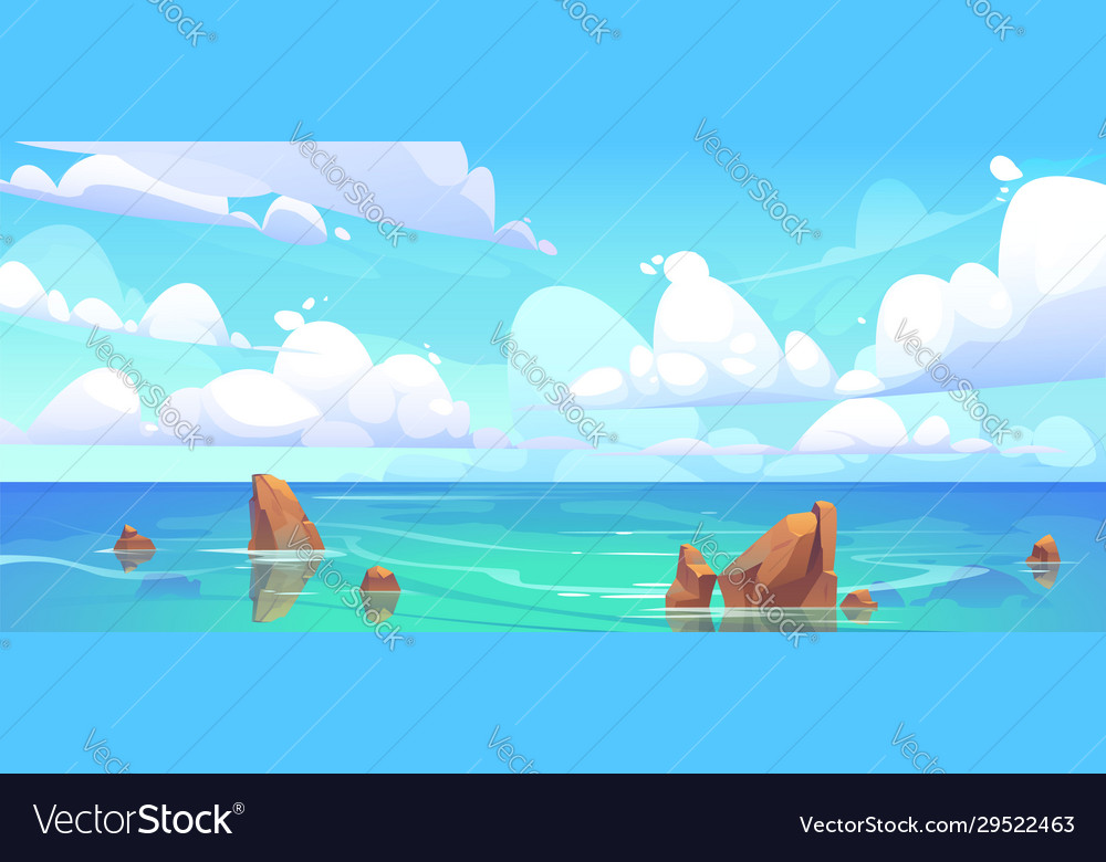 Sea landscape with stones in water and clouds