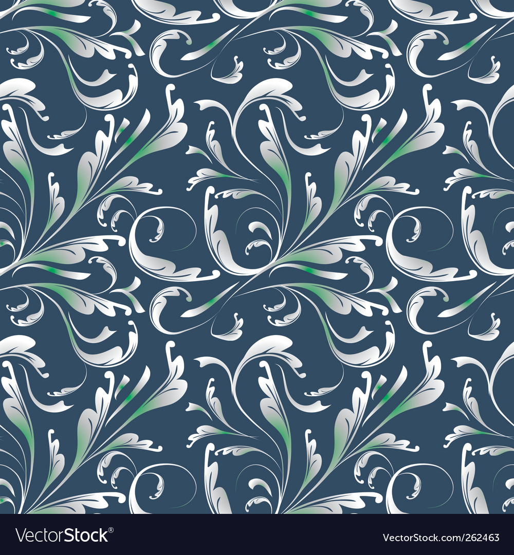 Seamless blue background with plants vector image