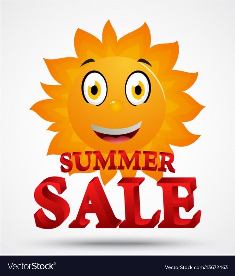 Summer sale with cute sun cartoon vector image