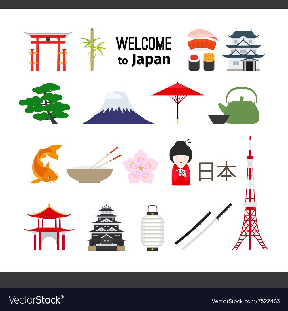 Travel Japan icons set