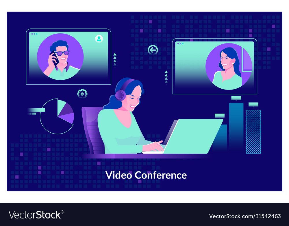 Video conferencing at home woman having video