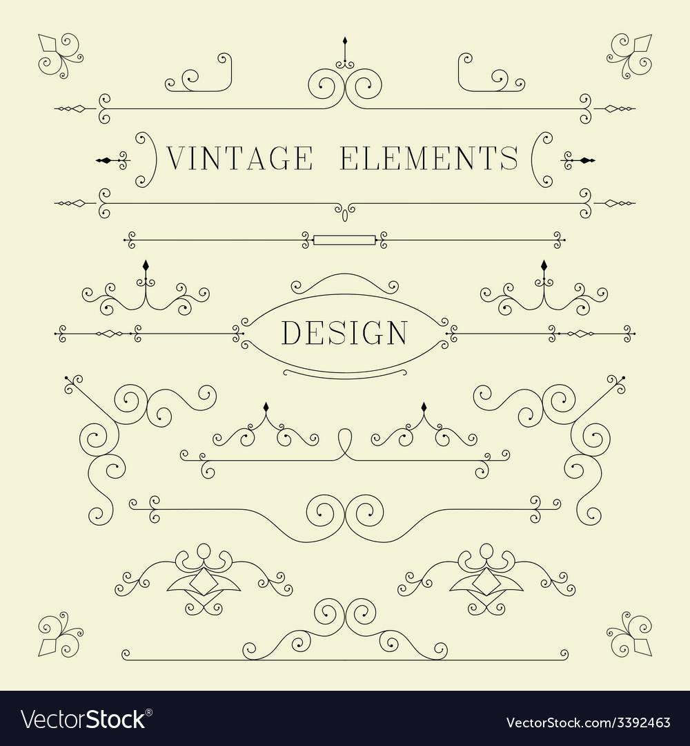 Vintage Design Borders Retro Elements Frame Ve