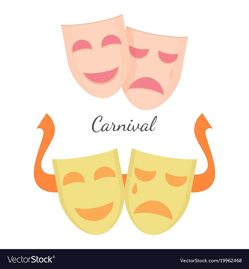 Carnival drama masks symbols of theatre play