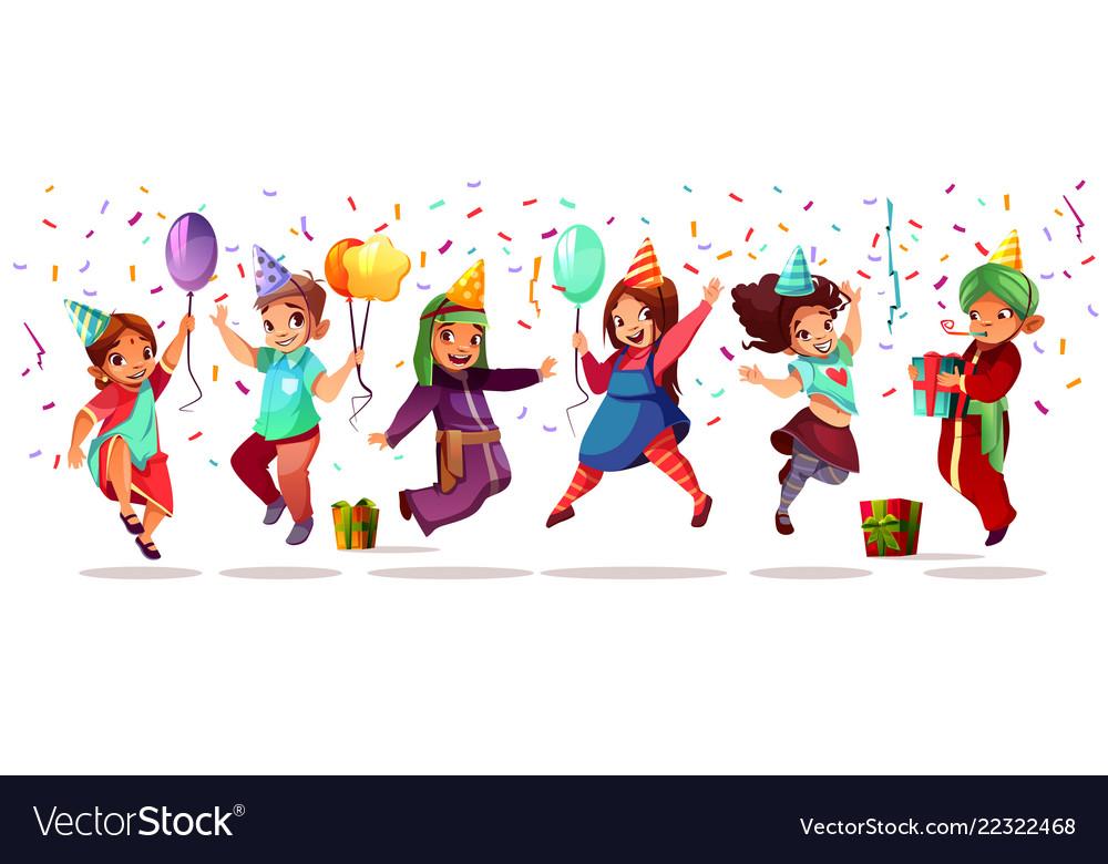 Children nationalities birthday celebration