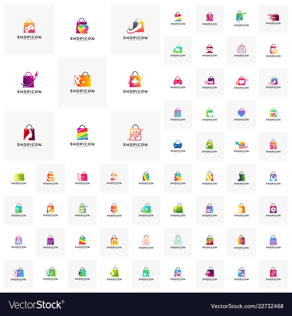 Collection of shop logo template design concept