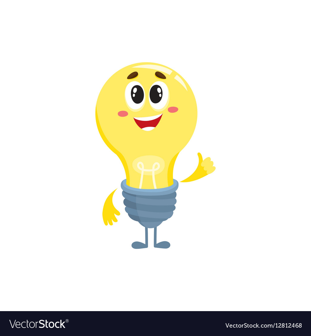 cute light bulb character with funny face showing vector image