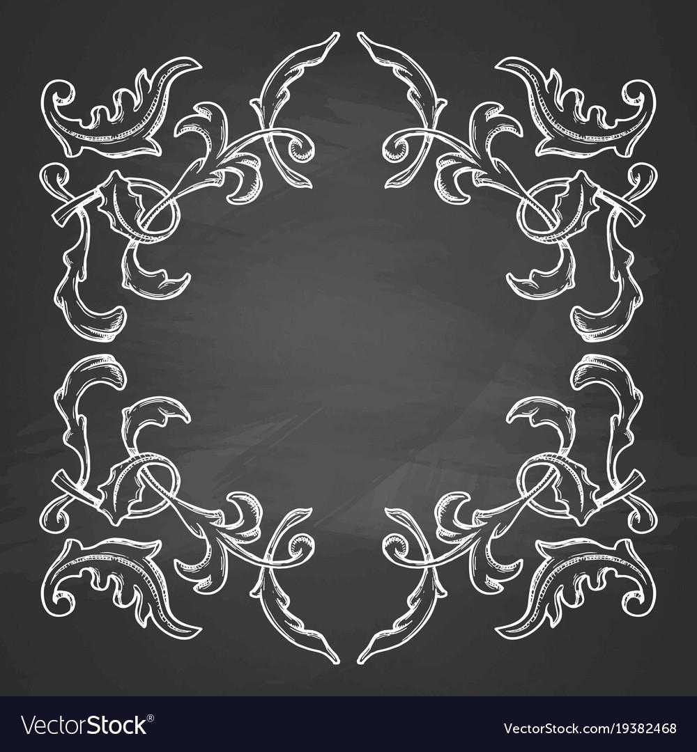 Decorative frame on chalkboard Royalty Free Vector Image
