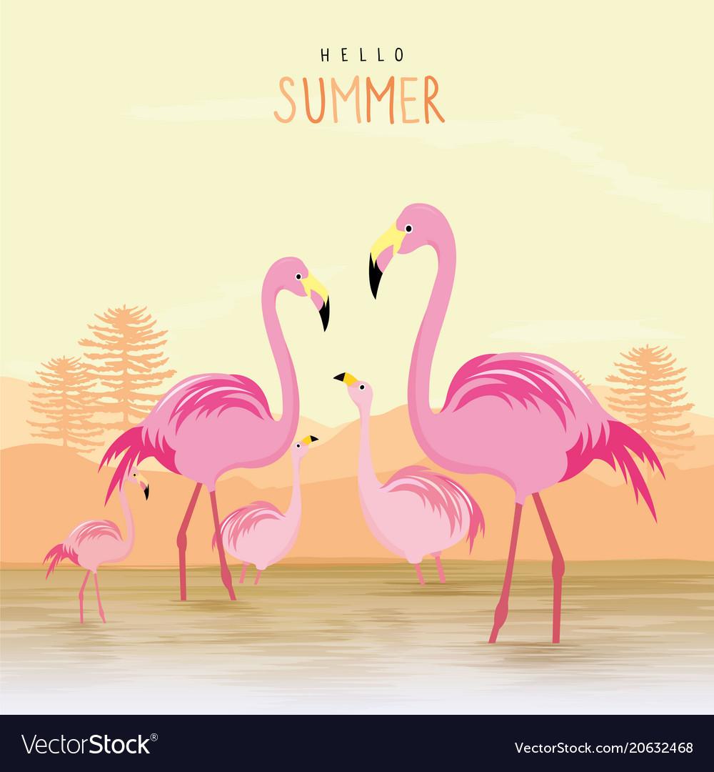 Flamingo pink animal bird cartoon