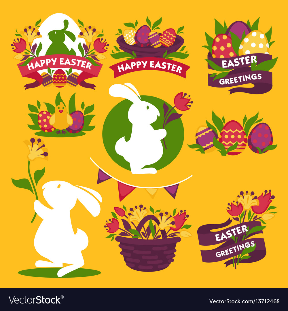 Happy easter greeting logo signs colorful flat