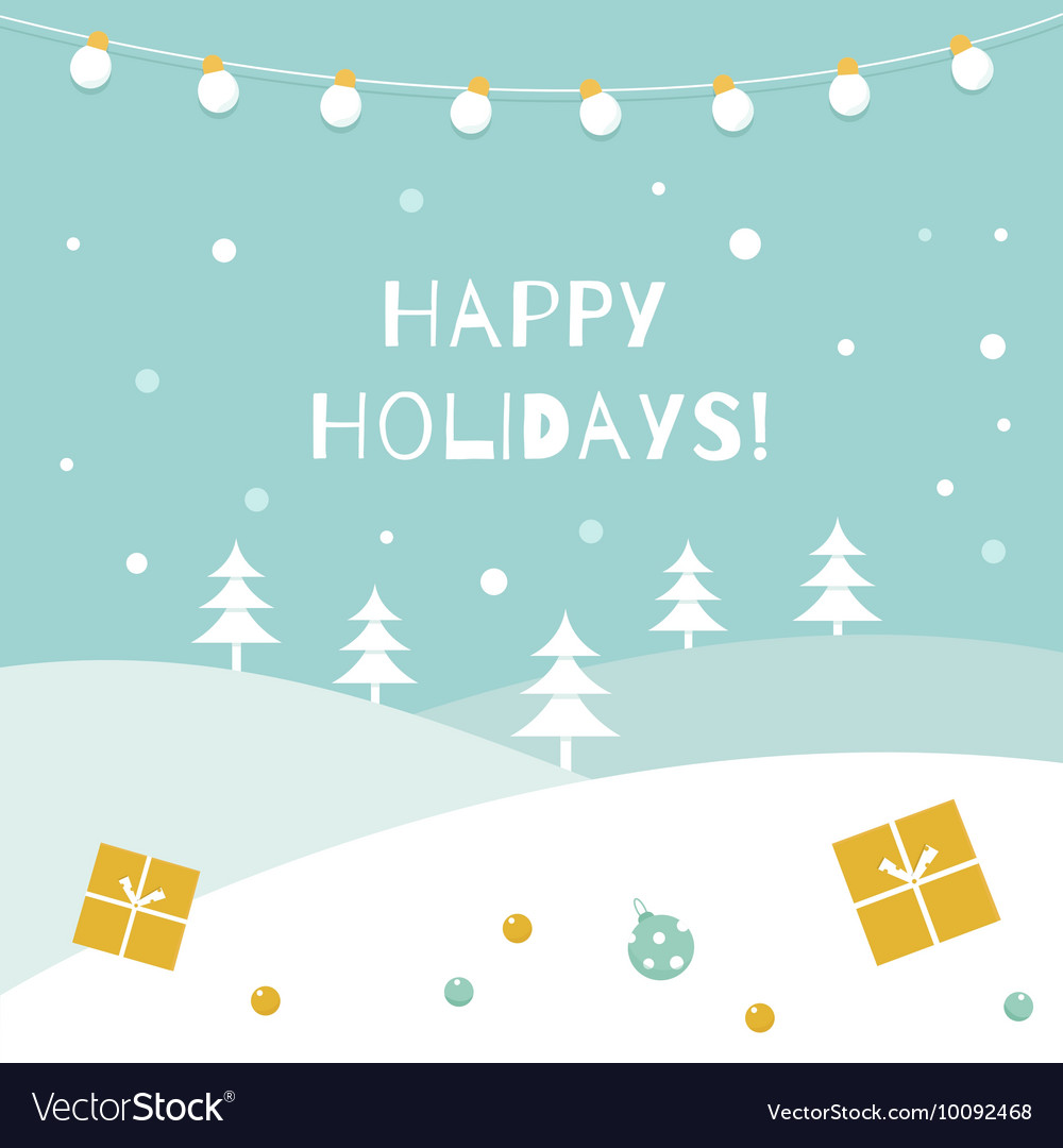 Happy Holidays Winter Background Garland of vector image
