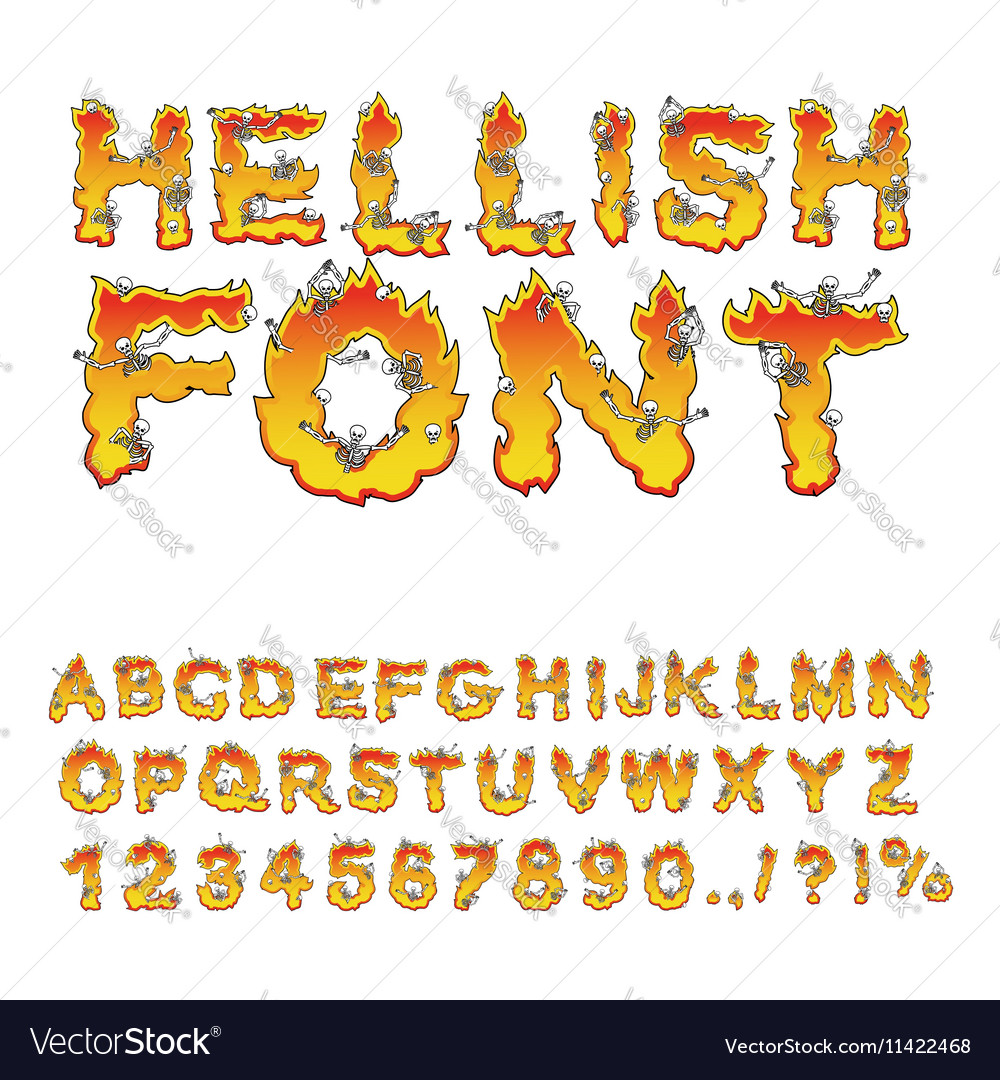 Hellish font inferno ABC Fire letters Sinners in
