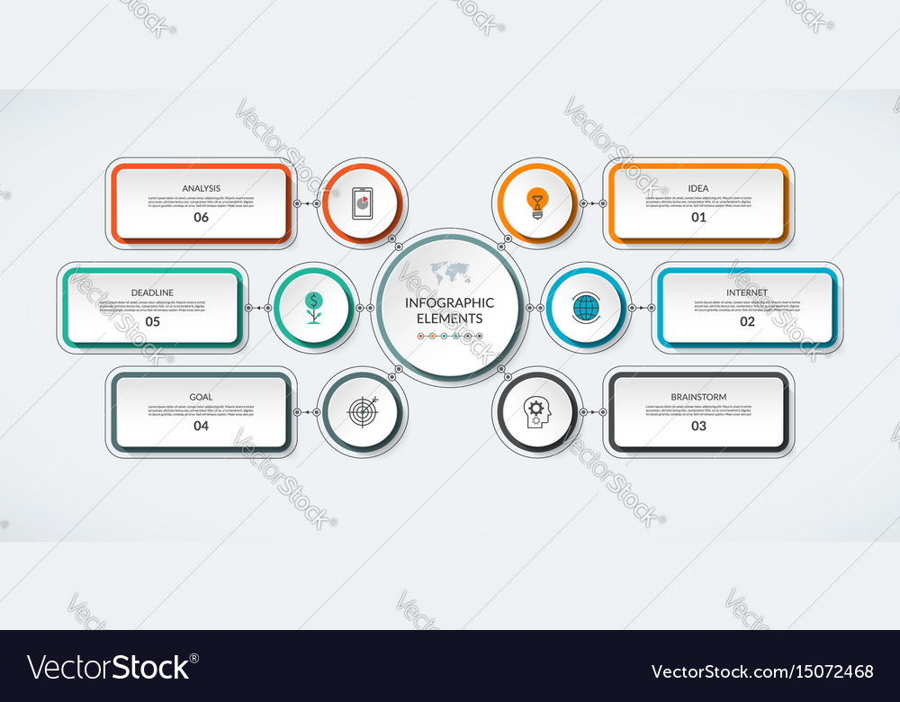 Infographic flow chart with 6 options