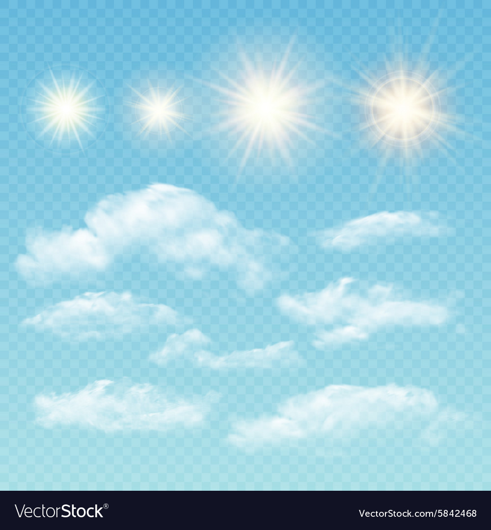 Sky creator Set realistic clouds and sun vector image