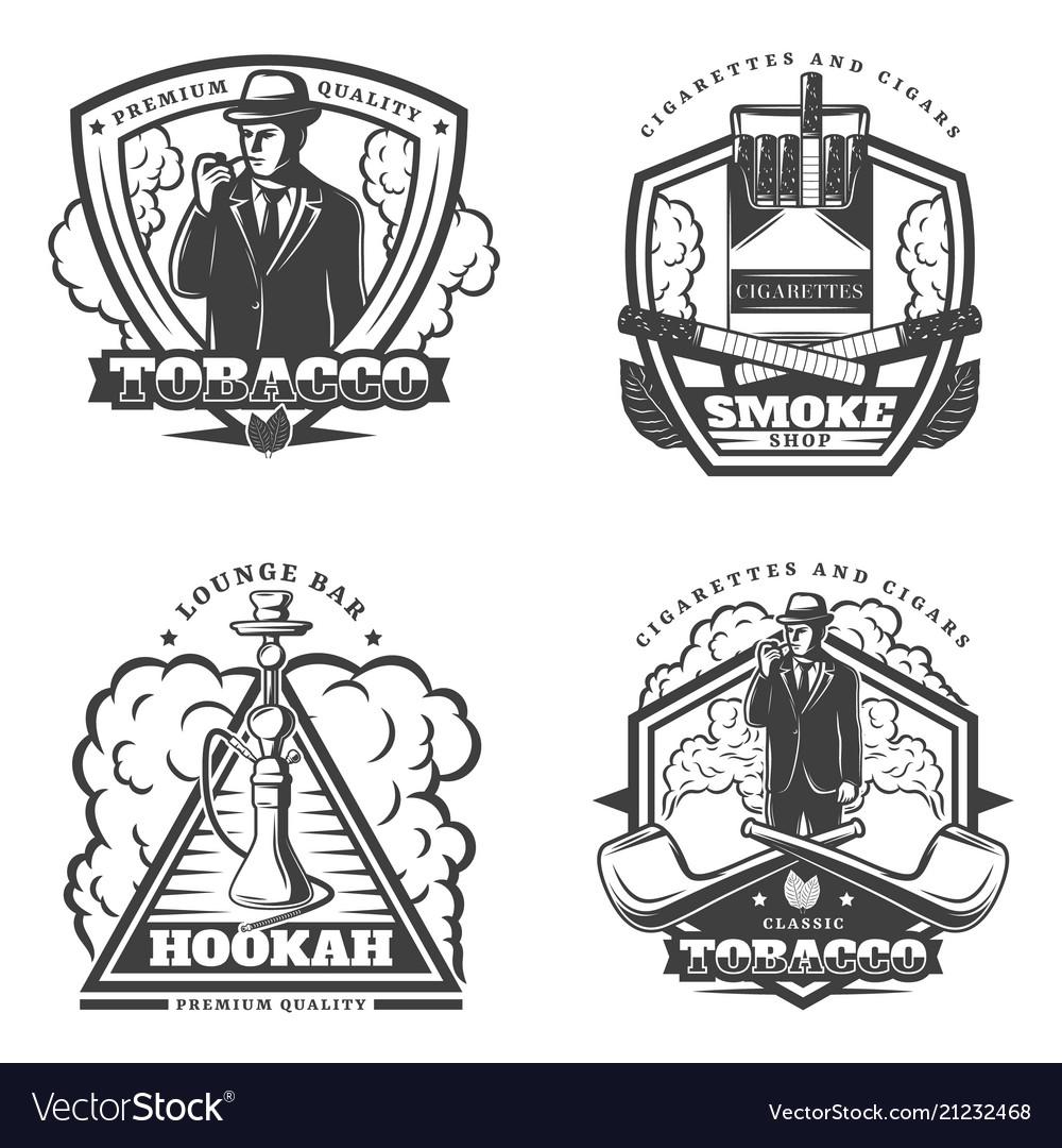 Vintage monochrome smoke emblems set