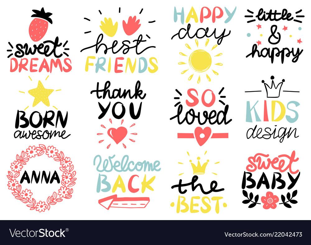 12 children s logo with handwriting happy day