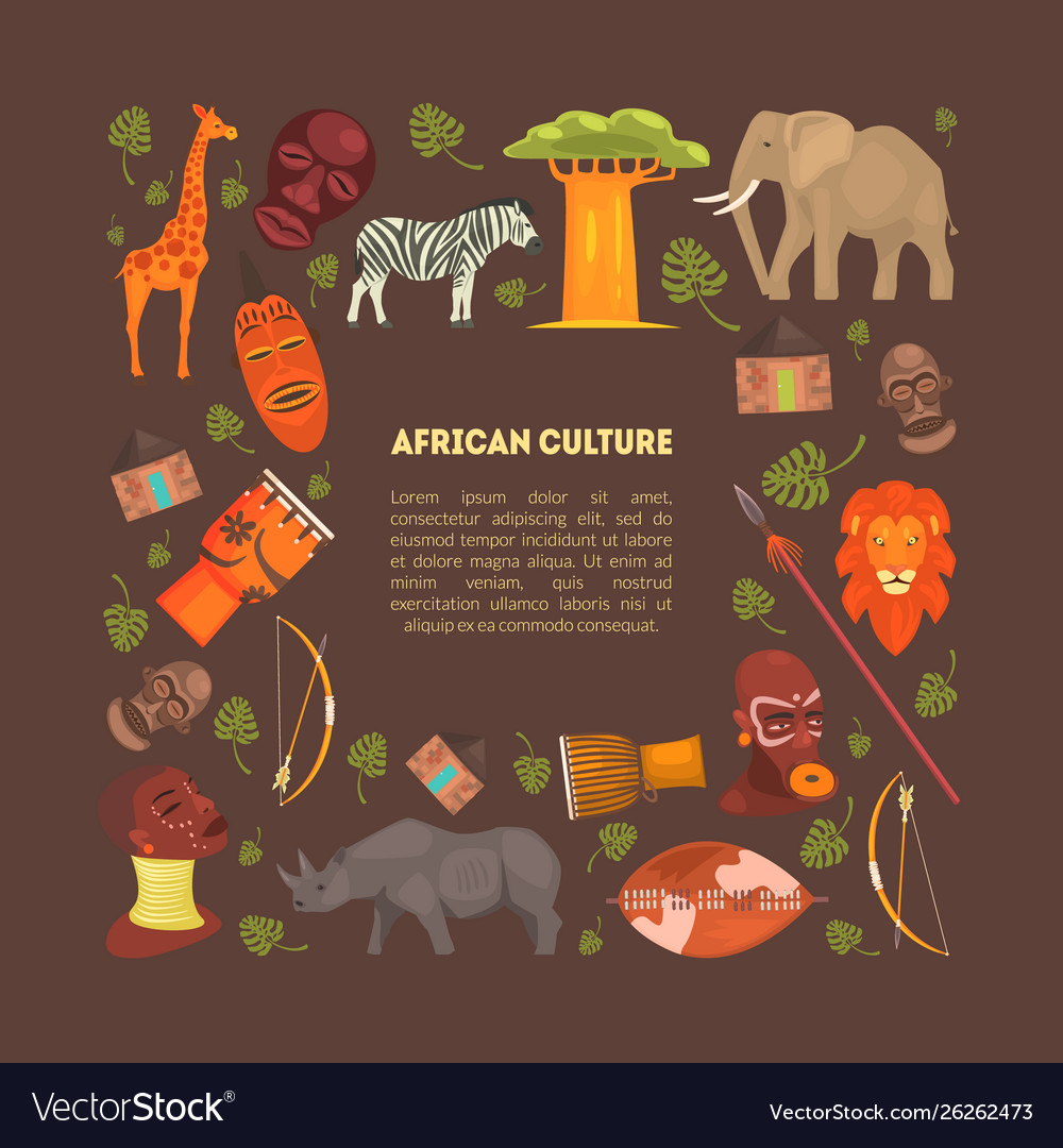 African style frame with animals and aboriginal