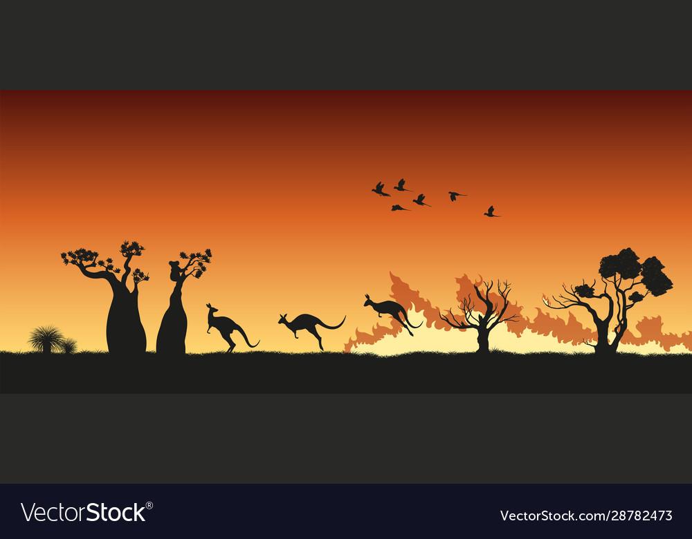 Black silhouette australian animals in bushfire