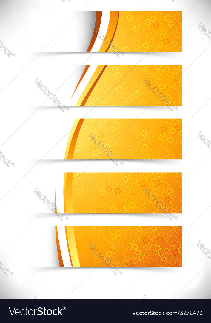 Bright orange waves headers footers collection vector image