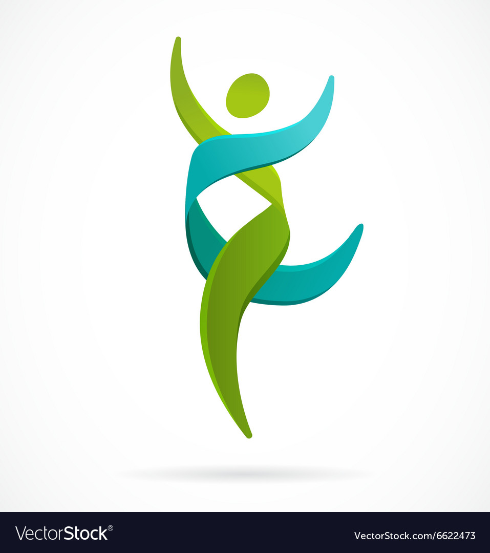 DNA genetic symbol - running and jumping man icon vector image