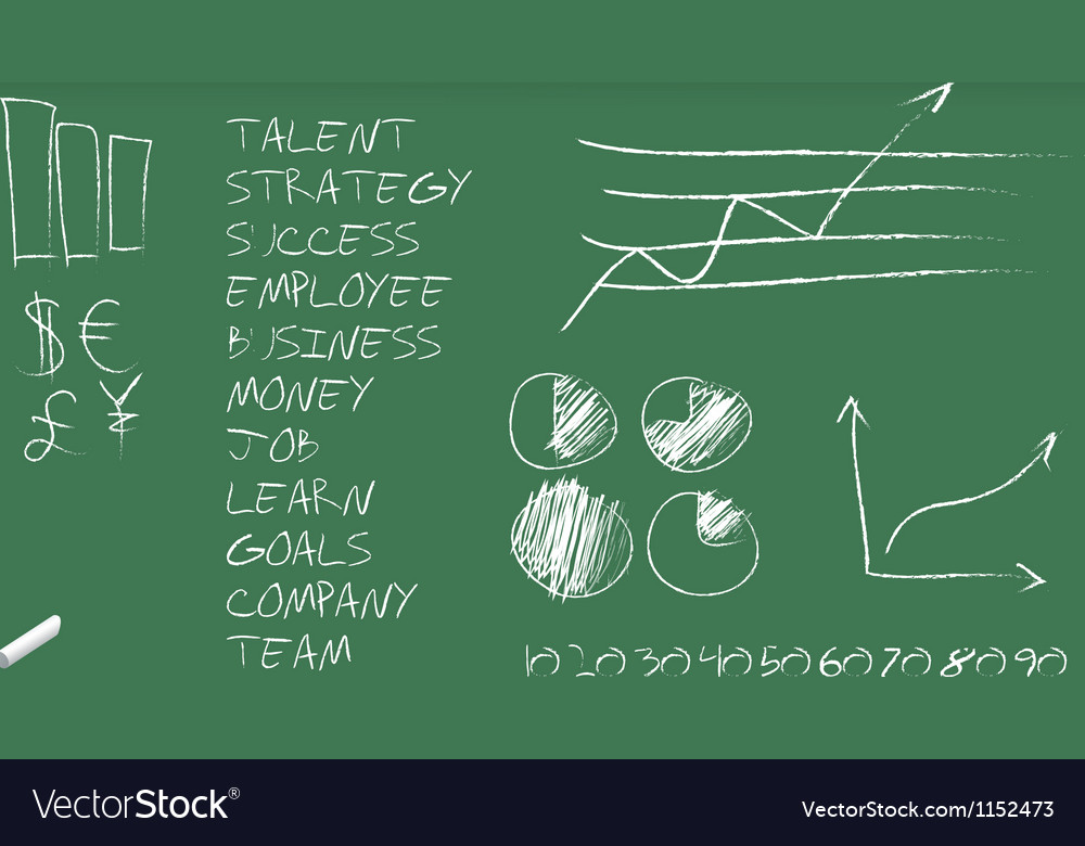 Green blackboard with business graphs and terms vector image