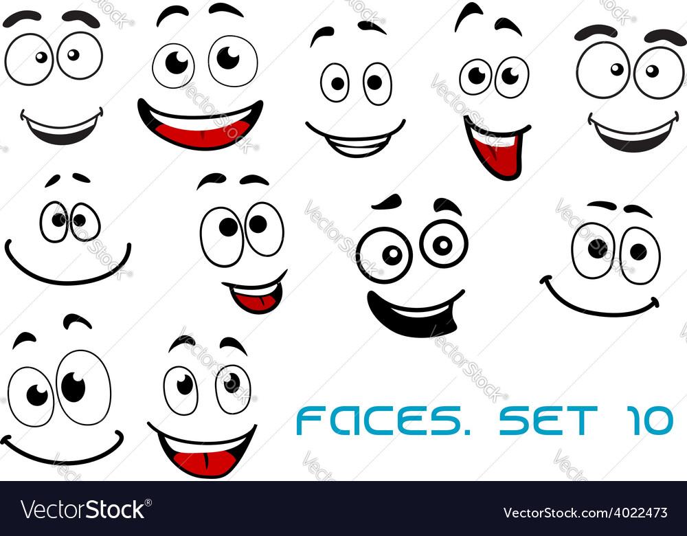 happy emotions on cartoon faces royalty free vector image rh vectorstock com happy cartoon face pics happy cartoon faces clip art