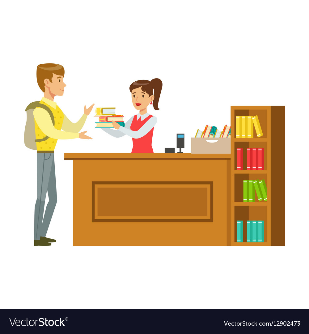 Man Taking The Books Fro The Librarian Smiling vector image