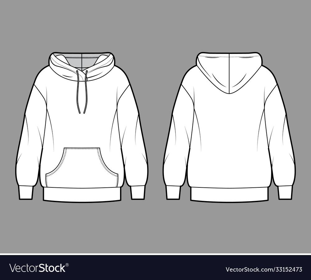 Oversized cotton-fleece hoodie technical fashion