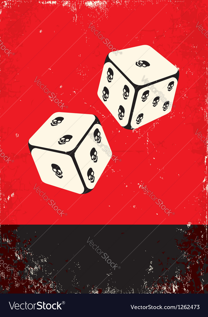 Poster with dice vector image