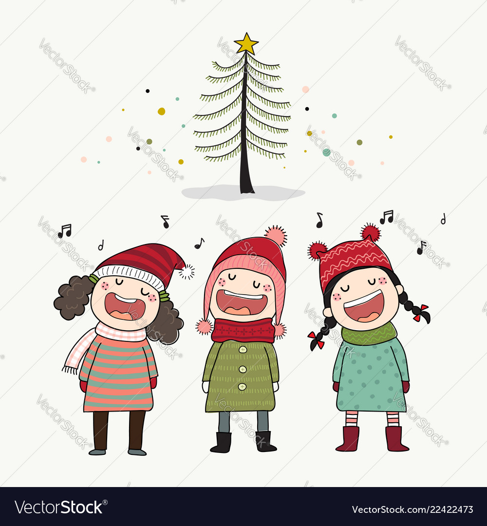 Christmas Caroling.Three Kids Singing Christmas Caroling