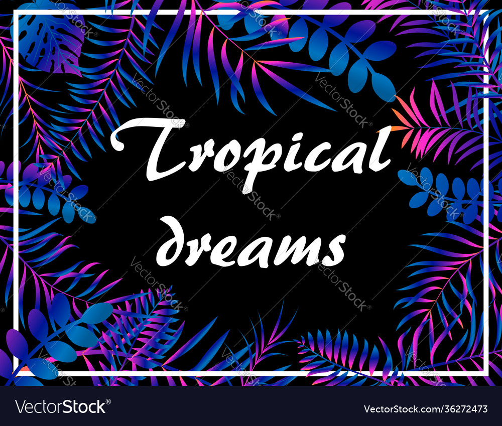Tropical neon floral background with jungle palm