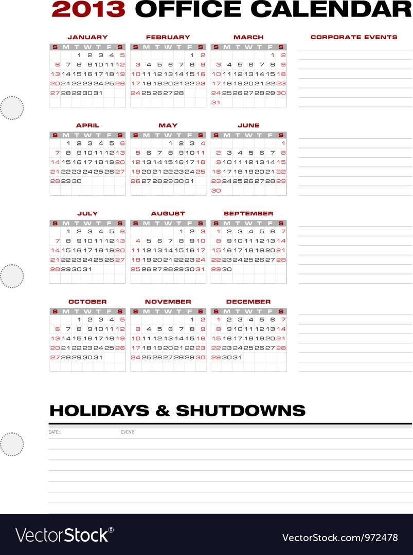 2013 Clean Office Calendar