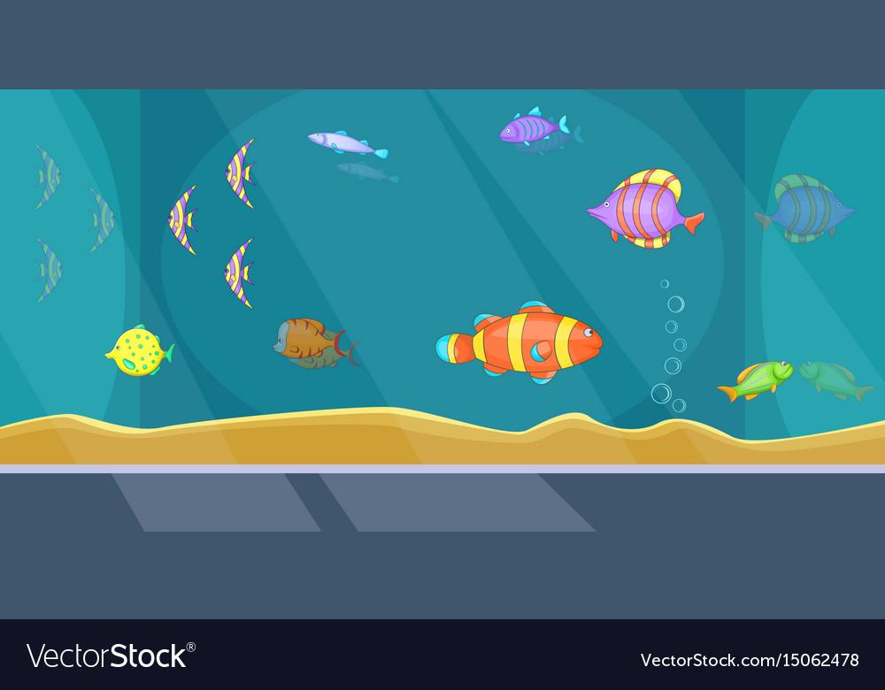 Aquarium Banner Horizontal Man Cartoon Style