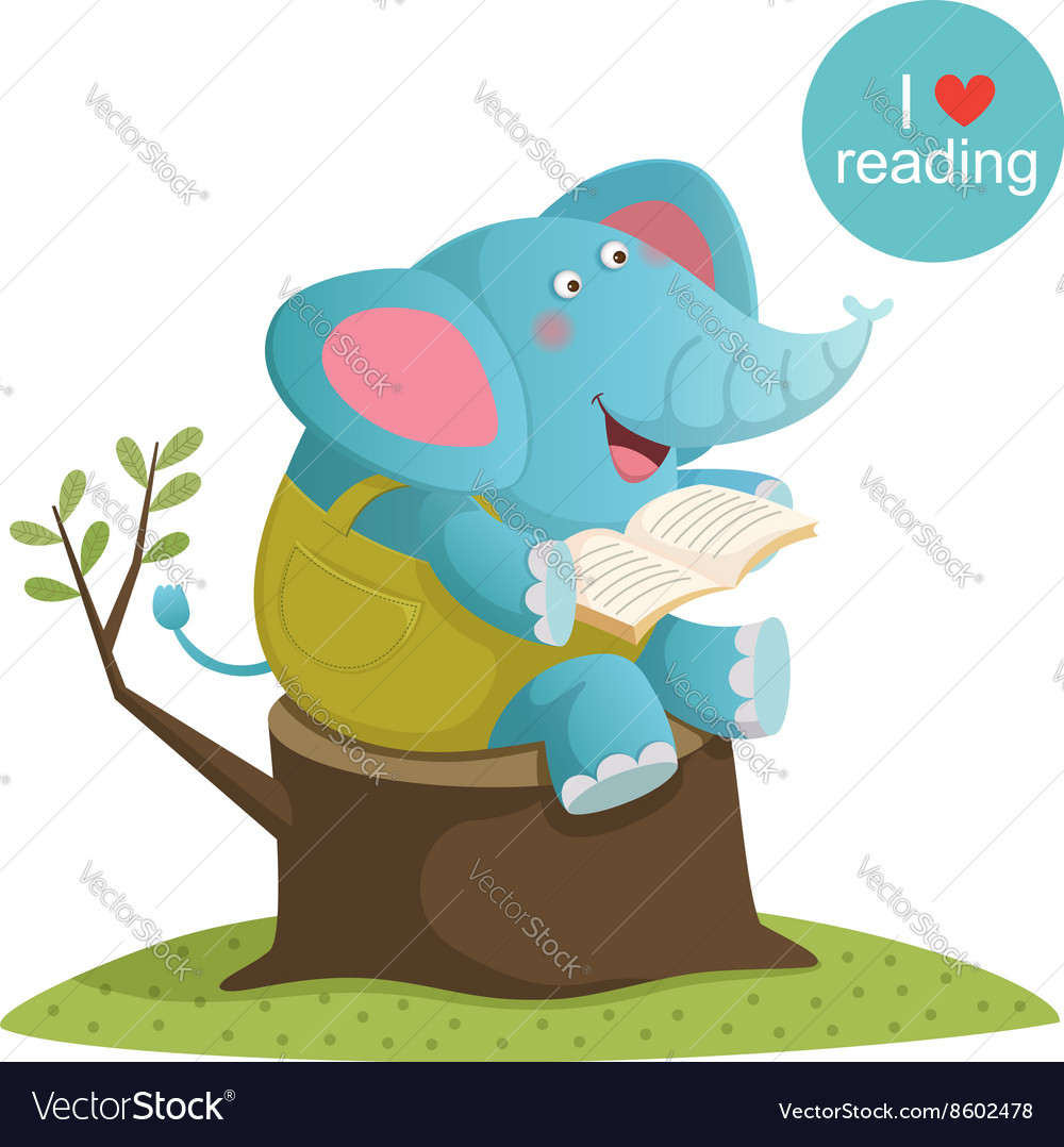 Cartoon elephant reading a book