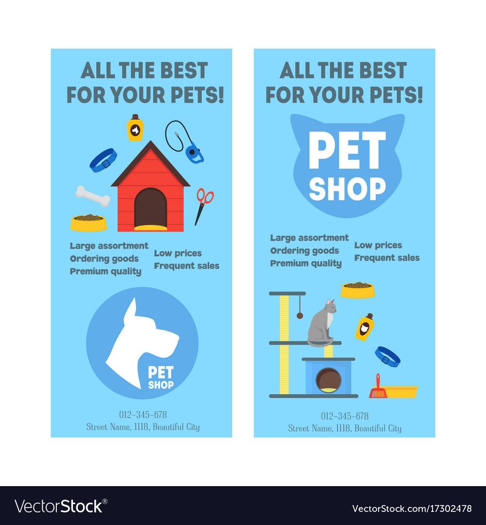 Cartoon pet shop banner or flyer service vertical