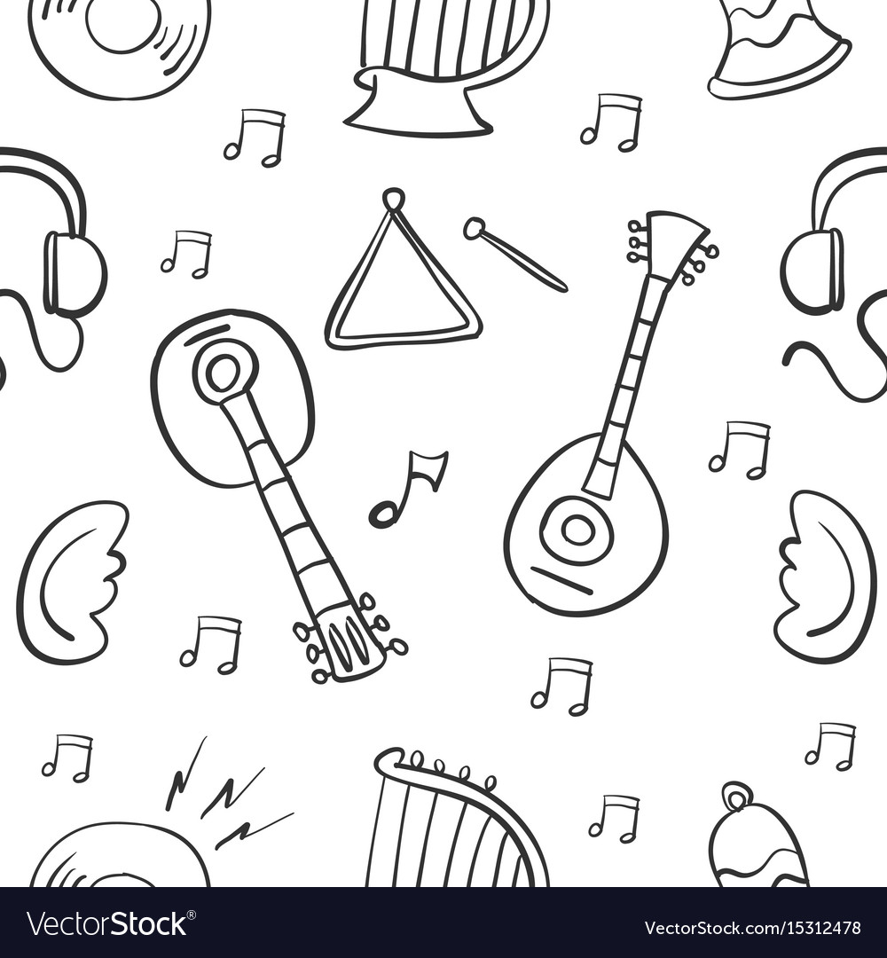 Collection of music object doodle