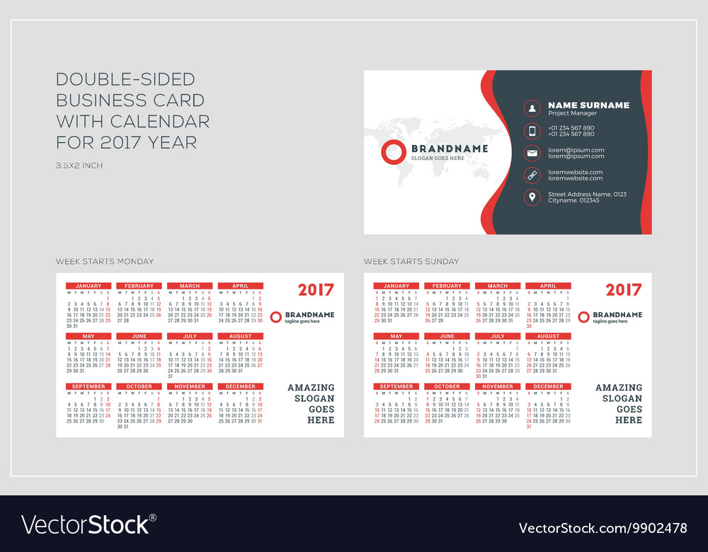 Double sided business card template with calendar vector image accmission Choice Image